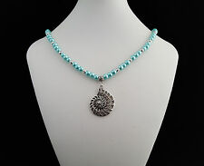 Turquoise glass bead necklace with silver ammonite pendant - 100990