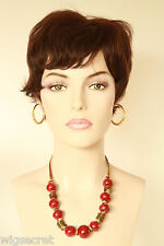 Dark Brown Brunette Short Human Hair  Straight Wigs
