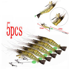 5pcs 10cm Shrimp Fishing Simulation Noctilucent Soft Prawn Lures Hook Bait Hook