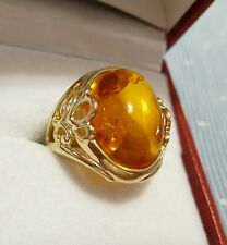 Large Alwand Vahan Natural Oval Amber 14K Yellow Gold Cocktail Ring, Size 6.25