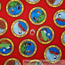 BonEful Fabric FQ Cotton Quilt Red Snoopy Dot Camp Girl Boy Scout Boat S Peanuts