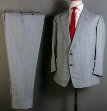 BESPOKE CANVASSED SUIT 42S 38W 31L GLEN PLAID CHECK WOOL