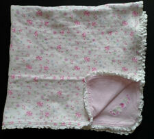 Laura Ashley Baby Blanket Pink & White Flowers Floral Print Cotton Ruffle