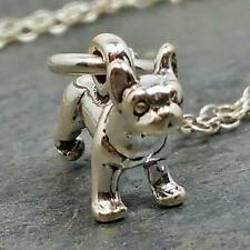 Tiny Boston Terrier Necklace - 925 Sterling Silver - Dog Puppy Charm Jewelry NEW