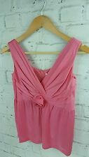 New Designer Full Circle Freese Rose Sleeveless Vest Top in Icing Pink XS 8 uk