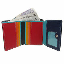 Womens Small Luxury Leather Purse Wallet Black Mixed Colour Quality Vitali NE54