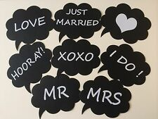8PCS Photo Booth Props For Wedding Party Black Card Board On A Stick