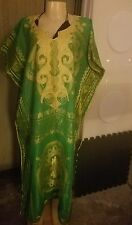Vintage African tunic green and gold embroidered one size fits all large