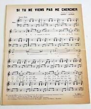 Partition vintage sheet music SAMMY LAURAN : Si tu ne Viens Pas me * 60's