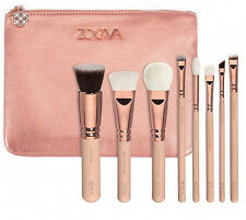 8pcs ZOEVA Rose Golden Makeup Cosmetic Complete Eye Powder Brushes Set Bag Kit