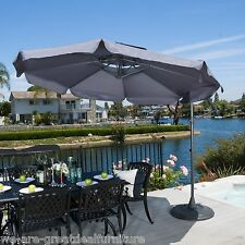 Modern Outdoor Patio Grey Cantilever Canopy Umbrella w/ Base