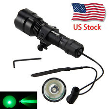 5000Lm CREE Green LED Flashlight Torch Light Pressure Switch Mount Hunting Rifle