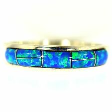 VIVID OPAL INLAY BAND STERLING SILVER BLUE & GREEN SOUTHWEST JEWELRY RING SIZE 8