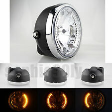 """8"""" Motorcycle Headlight Project Yellow LED Turn Signal 4 Harley Bobber Dyna"""