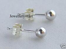 9ct White Gold 4mm Small Plain Round Bead Ball Studs Sleeper Earrings X'Mas GIFT