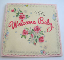 Used Vtg Little Baby Gift Card Glittery Roses & Flowers to Welcome Baby