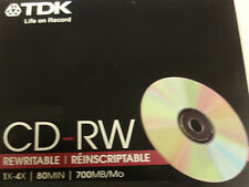 TDK CDRW80TWN MUSIC CD-RW 4X BRAND NEW SLIM JEWEL CASE