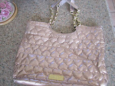 Betsey Johnson Quilted Hearts Handbag Tote Metallic Handle Straps