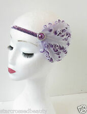 Purple White Lavender Feather Headpiece Headband Vintage 1920 Flapper Silver O85