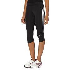 NWT Womens Adidas ClimaLite Black/White Logo Side Stripe Capri Pants / Leggings