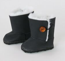 "Black Ewe Boots with Fur Trim Fits American Girl or other 18"" Dolls - KNC too!"
