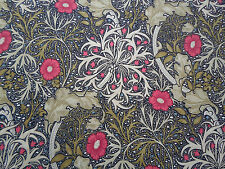 William Morris Curtain Fabric 'Seaweed' 0.5 METRES (50cm) Ebony/Poppy Cotton