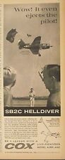 1963 Cox Gas Powered SB2C Helldiver Model Airplane Parachute Pilot Toy Trade AD