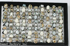 wholesale Jewelry Mixed Lots 15pcs Mens Womens Abalone Shell Rhinestone Rings