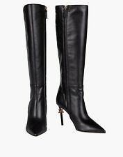 Dsquared2 Tall Leather Black Boots With Barb Wire Trim. Size 38