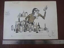 """VINTAGE BOTTLE COLLECTOR . Pen & Ink orig 20thC illus""""Bill Hewison"""" Art Editor P"""