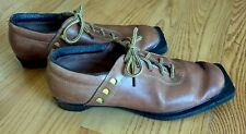 Haugen Vintage Brown Leather 5-Pin Ski Boots - Made in Norway - Nice Decor Item
