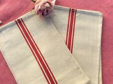 PAIR VINTAGE FRENCH LINEN TORCHONS TEA TOWELS RED STRIPES