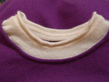 LUXURY  Lucien Pellat Finet  PURPLE CASHMERE & CREAM NECK JUMPER   Size S UK 6