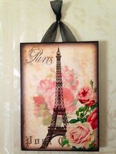 Paris Eiffel Tower & Roses Postcard Plaque Sign Wall Decor French Cottage