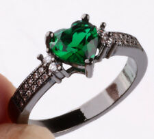 NEW Size7 love emerald CZ Fashion Black 18K Gold Filled Rings 2.10ct H10
