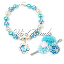 Frozen Princess Pendant Chunky Gumball Bubblegum Beads Necklace With Bow Jewelry