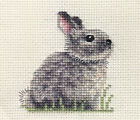 GREY BUNNY RABBIT baby, counted cross stitch kit + all materials needed