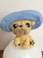 Hasbro Littlest Pet Shop #107 Tan Brown Bulldog Puppy Blue Floppy Hat Green Eyes