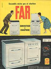Publicité 1960  Cuisinière FAR ensemble mixte gaz et charbon