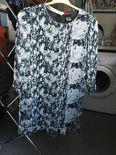Sparkle & Fade Ladies Lined Blue Patternef 3/4 Sleeve Zip Back Tunic Size Small