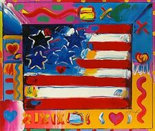 "Peter Max    ""Flag With Heart II""    MAKE  OFFER    DSSTD"