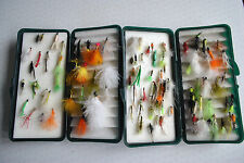 2X SNOWBEE 120 PLASTIC FLY BOXES WITH A COLLECTION OF FLIES