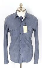 New BRIONI Slate Blue Suede Leather 6Btn Shirt Jacket Coat 50 M L NWT $5530!