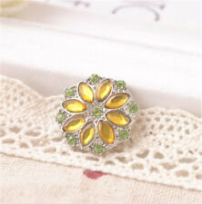 3D Rhinestone yellow Charm Chunk Snap Button fit for Noosa Leather Bracelet