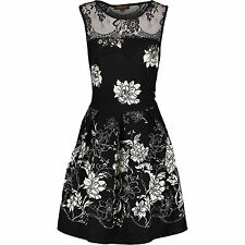Chic And Mit Black Floral Lace Insert Skater Dress Size 12 **RRP £90** BRAND NEW