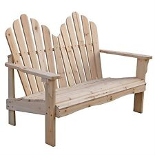 Brand New Yellow Cedar Wood Outdoor Patio 2-Seat Adirondack Chair Style Loveseat