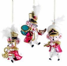 Musical Mice Marching Band Christmas Holiday Ornaments Set of 3 Glass