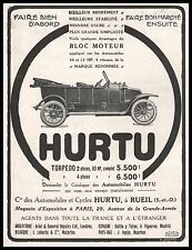 Publicité Automobile HURTU Torpedo  car photo vintage  ad  1914 -1j