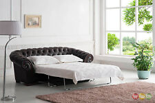 Brown Italian Leather Button Tufted Chesterfield Pull-Out Sleeper Sofa Bed
