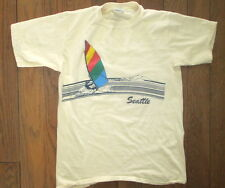 Vtg 80s Poly Tees Hawaii Windsurfing SEATTLE Catamaran Sailing Beach T-Shirt M